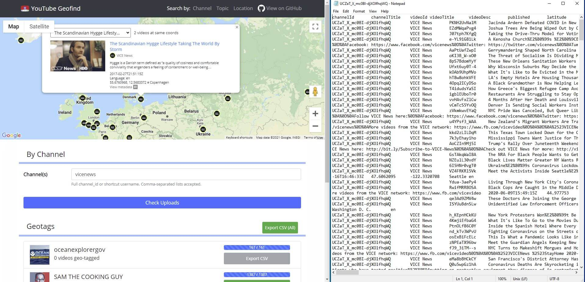 Analysing YouTube geolocation data with 'YouTube Geolocation'